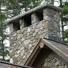This magnificent fieldstone chimney is 10 feet wide and 9 feet tall with a 6� thick granite cap