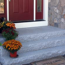 Swenson gray granite entry steps