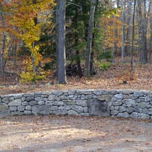 This fieldstone retaining wall was artfully crafted in the historic district of a New England town
